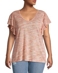 B Collection By Bobeau Plus Tenely Flutter Sleeve Top - Pink