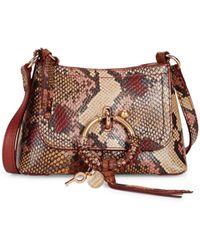 See By Chloé Joan Mini Snake-embossed Leather Hobo Bag - Multicolor