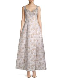 Adrianna Papell - Floral Jacquard Ball Gown - Lyst