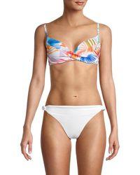 X By Gottex Women's Palm-print Bikini Top - Size 40 (10) - Blue