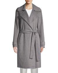 Badgley Mischka - Double-faced Wool-blend Wrap Coat - Lyst
