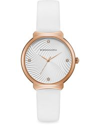 BCBGMAXAZRIA Classic Rose Goldtone Stainless Steel Leather-strap Watch - Multicolour