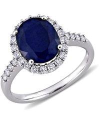 Saks Fifth Avenue Women's 14k White Gold, Blue Sapphire & Diamond Ring - White Gold - Size 5 - Multicolour