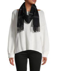 Saks Fifth Avenue Women's Checker Cashmere Scarf - Black