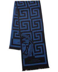 Versace Logo Print Wool-blend Scarf - Blue