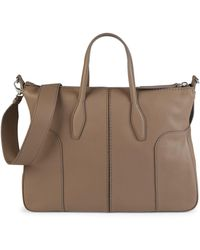 Tod's Stitched Leather Satchel - Brown