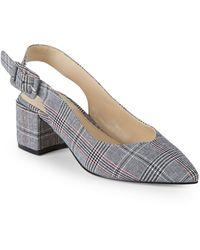 Pure Navy Brandee Slingback Textile Court Shoes - Multicolour