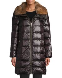 Kate Spade Faux Fur-trim Down Puffer Coat - Black