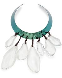 Alexis Bittar Liquid Blue-plated Metal, Lucite & Leather Collar Necklace