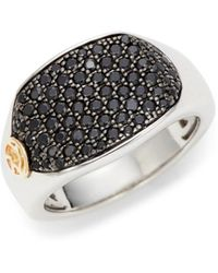 Effy - Sterling Silver, 14k Yellow Gold & Black Spinel Ring - Lyst