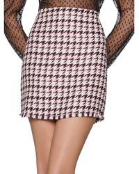 BCBGeneration Frayed Houndstooth Mini Skirt - Red