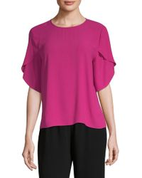 7109519090ed09 Lyst - Eileen Fisher Silk Bell Sleeve Top in Gray