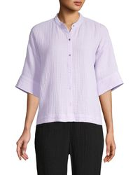 Eileen Fisher Organic Cotton Mandarin-collar Boxy Shirt - Purple