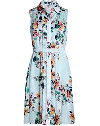 Nanette Lepore Pintucked Floral Shirtdress - Blue