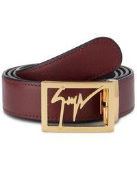 Giuseppe Zanotti Logo Leather Belt - Red