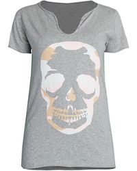 Zadig & Voltaire Tunisien Camo Skull Graphic Henley T-shirt - White