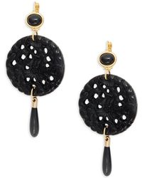 Kenneth Jay Lane - Goldtone Carved Circle Drop Earrings - Lyst