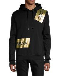 Dolce & Gabbana Men's Foiled Logo Tape Hoodie - Black - Size 48 (32)