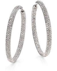 """Adriana Orsini - Pavà Silverplated Inside-outside Hoop Earrings/1.75"""" - Lyst"""