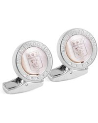 Ermenegildo Zegna Round Sterling Silver & White Mother-of-pearl Swivel Circle Cufflinks