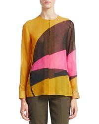 Akris Punto Long Silk Georgette Sunrise Blouse - Multicolour