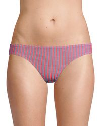 Solid & Striped The Elle Striped Bikini Bottoms - Purple