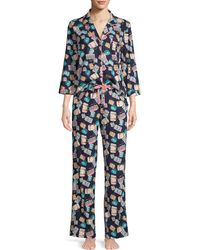 Jane And Bleecker Luggage Print 2-piece Cotton-blend Pyjama Set - Blue