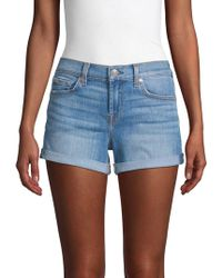 7 For All Mankind Roll-up Denim Shorts - Blue