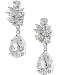 CZ by Kenneth Jay Lane Women's Look Of Real Rhodium-plated & Crystal Drop Earrings - Metallic