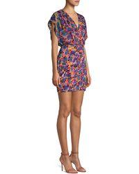 Saloni Printed Mini Dress - Blue