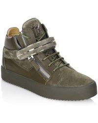 Giuseppe Zanotti Leather High-top Sneakers - Green