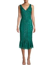 Adrianna Papell Embellished Sheath Dress - Green