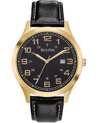 Bulova Dress Standard Stainless Steel & Leather-strap Analog Watch - Metallic