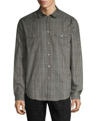 John Varvatos Militry Slim-fit Plaid Shirt - Gray