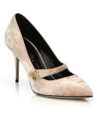 Oscar de la Renta Gata Velvet Mary Jane Court Shoes - Multicolour