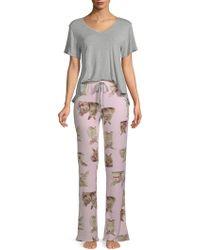 Betsey Johnson - Two-piece Cloud-print Jersey Pajama Set - Lyst