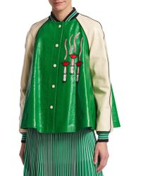 Valentino \n Green Leather Jacket