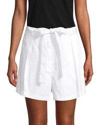 BCBGMAXAZRIA Pleated-front Cotton Belted Shorts - White
