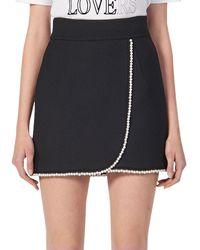 Sandro Vicky Embellished Wrap Mini Skirt - Black