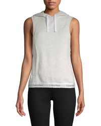 Calvin Klein Logo Hem Sleeveless Hoodie - White