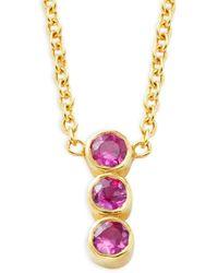 Amrapali Women's 18k Yellow Gold & Pink Ruby Pendant Necklace