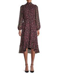 Julia Jordan Floral Tie-back Midi Dress - Black