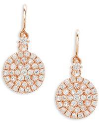 Suzanne Kalan - 14k Rose Gold & White Sapphire Circle Earrings - Lyst