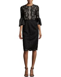 Maggy London - Flared-sleeve Lacework Sheath Dress - Lyst