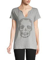 Zadig & Voltaire Studded Skull Cotton Top - Grey