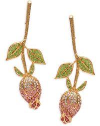 Kenneth Jay Lane Women's Goldplated, Peridot, & Crystal Rose Flower Earrings - Multicolour