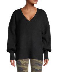 Sweet Romeo Women's Blouson-sleeve Sweater - Cornflower - Size Xs - Black
