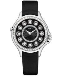 Fendi Crazy Carats Diamond, Topaz, Stainless Steel & Leather-strap Watch - Black
