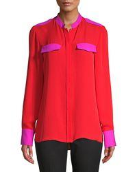 Elie Tahari Lexi Bi Colour Silk Blouse - Red