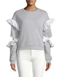 English Factory - Ruffle-trimmed Heathered Jumper - Lyst